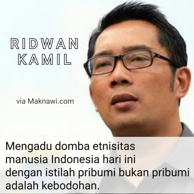 Ridwan Kamil: Istilah Pribumi Bukan Pribumi Adalah Kebodohan