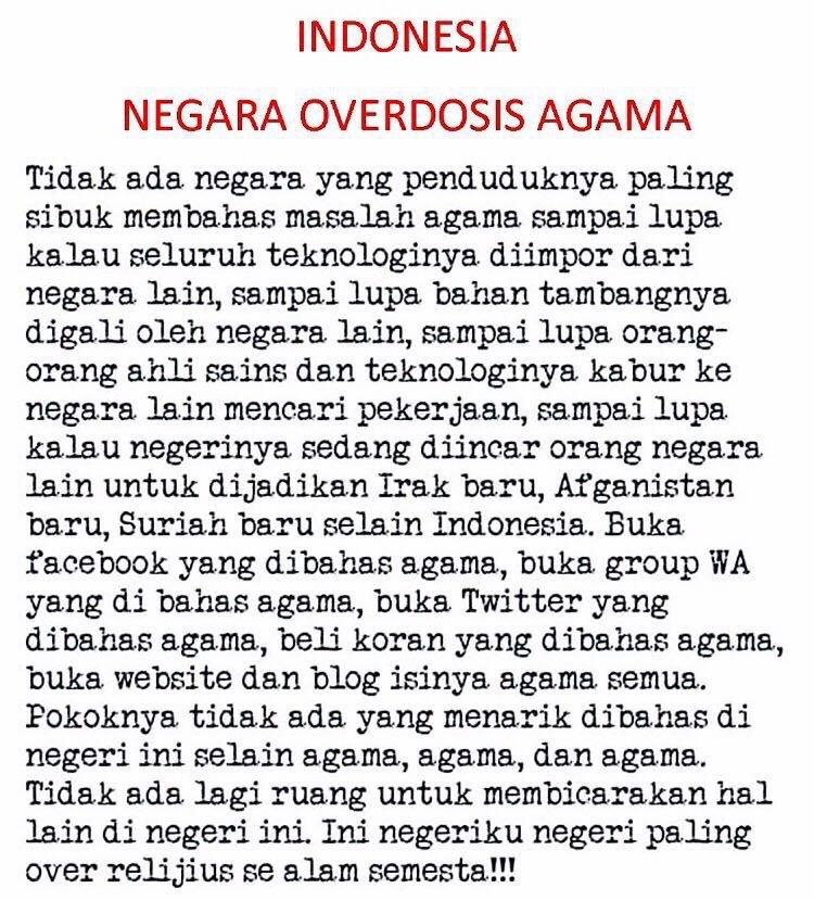 Indonesia, Negara Overdosis Agama