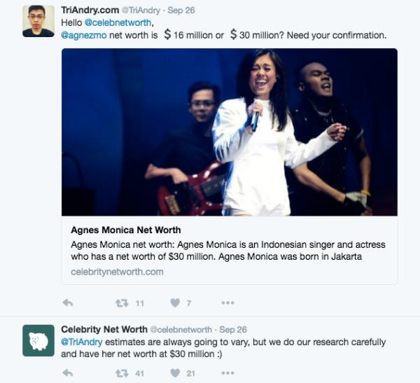 Jumlah Kekayaan Agnes Monica Ratusan Miliar Rupiah