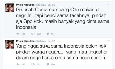 Prisia Nasution Sindir Orang yang Tidak Cinta Indonesia