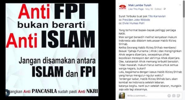 Surat Terbuka: Anti FPI Bukan Berarti Anti Islam